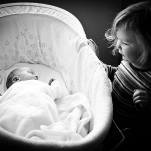 Toddler with new baby brother in Earlston Scottish Borders family photography session