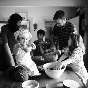Family baking together in Coldstream Scottish Borders family photography session