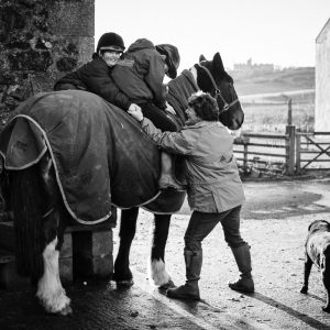 Family with horses and stables in Duns Scottish Borders family photography session