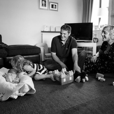 Family with newborn at home in Jedburgh Scottish Borders family photography session