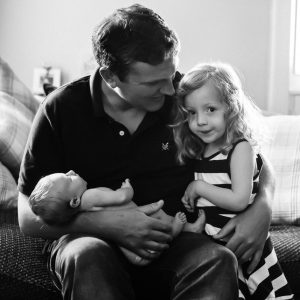 Father and children at home in Jedburgh Scottish Borders family photography session