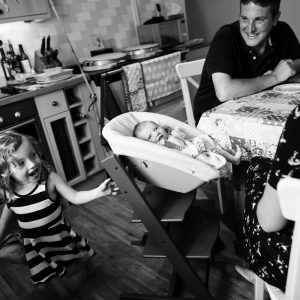 Family at home with newborn in Jedburgh Scottish Borders photography session