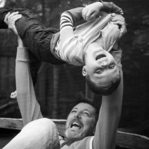 Father and son on trampoline in Kelso Scottish Borders family photography session