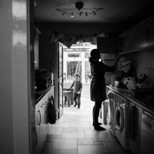 Mum and toddler in kitchen Earlston Scottish Borders
