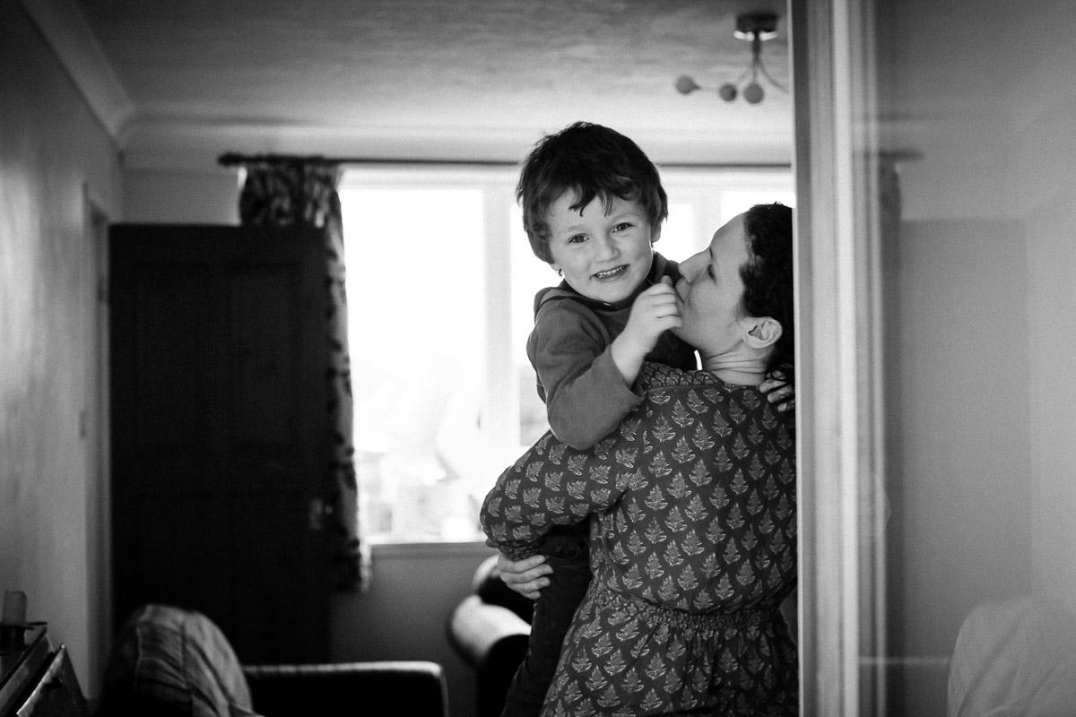 Mum and toddler cuddling in Earlston Scottish Borders